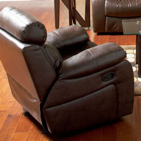 coaster 600563 brown leather glider recliner a