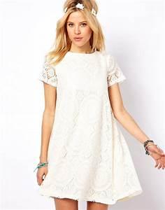 dress boho white lace summer spring short mini With robe courte trapèze