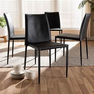 Set, Of, 4, Baxton, Studio, Pascha, Modern, And, Contemporary, Black, Faux, Leather, Upholstered, Dining