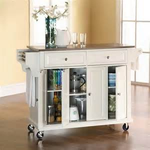 kitchen island with stainless top crosley furniture kf30002ewh stainless steel top kitchen cart island in white finish