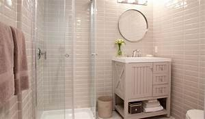 Gray bathroom with martha stewart seal harbor vanity in for Martha stewart bathrooms