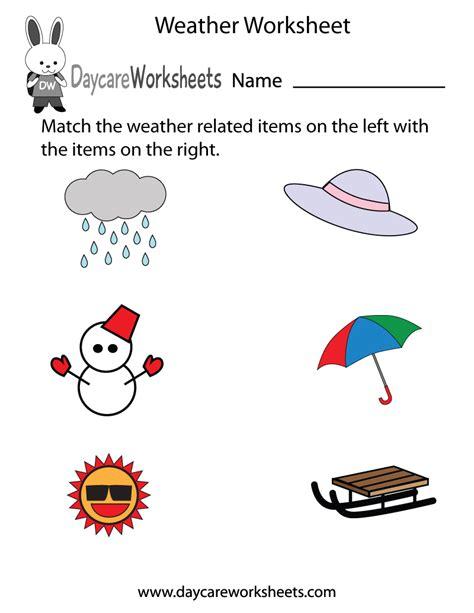 preschool weather worksheet
