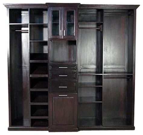 cherry walk in closet unit traditional closet