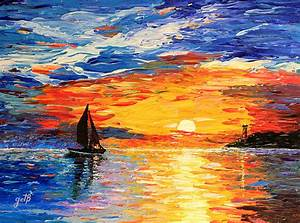 Romantic Sea Sunset by Georgeta Blanaru