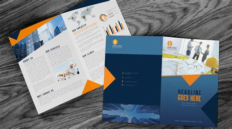 bi fold construction brochure design template