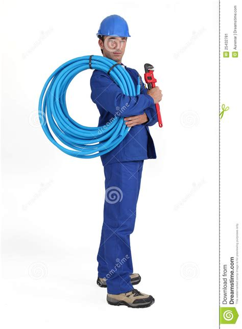 Worker Holding Blue Pipe Stock Photo Cartoondealercom