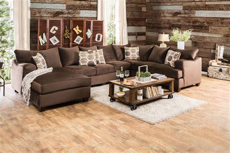 furniture  america jeeters brown fabric  shaped sofa
