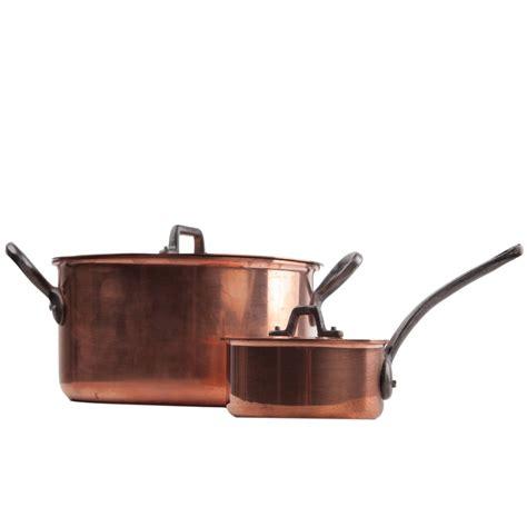 pair  french midcentury gourmet copper pots  baumalu  sale  stdibs