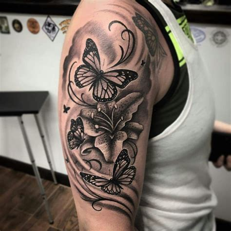 butterflies  lilies tattoo ideas tattoos butterfly