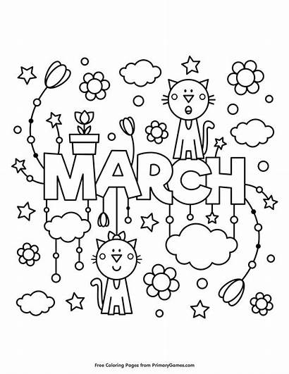 Coloring March Pages Printable Spring Sheets Colouring