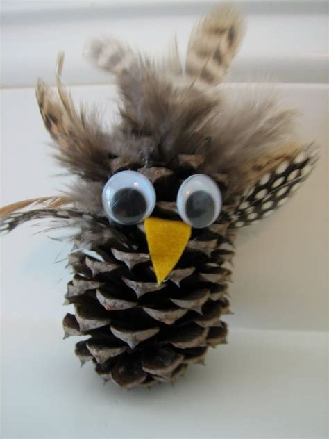 owl creations from pine cones and fluff pine cone owl craft 4th grade ideas crafts search and awesome