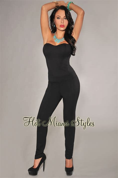 black fitted jumpsuit black fitted strapless padded jumpsuit