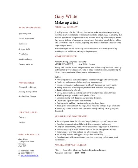 Makeup Artist Resume Pdf by Makeup Artist Resume 5 Free Pdf Word Documents