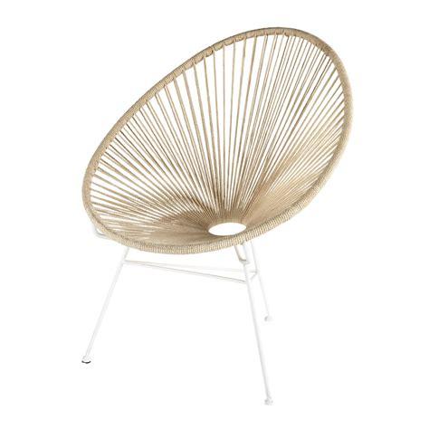 deco chambre bord de mer fauteuil en cordes de coton et métal blanc copacabana