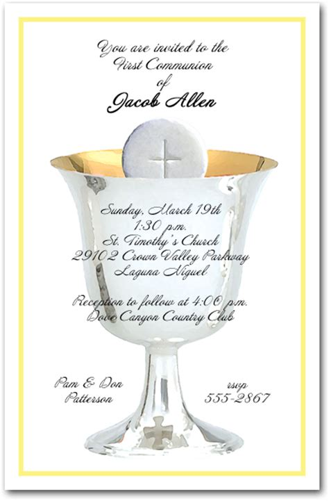 Silver Chalice and Host First Communion Invitations
