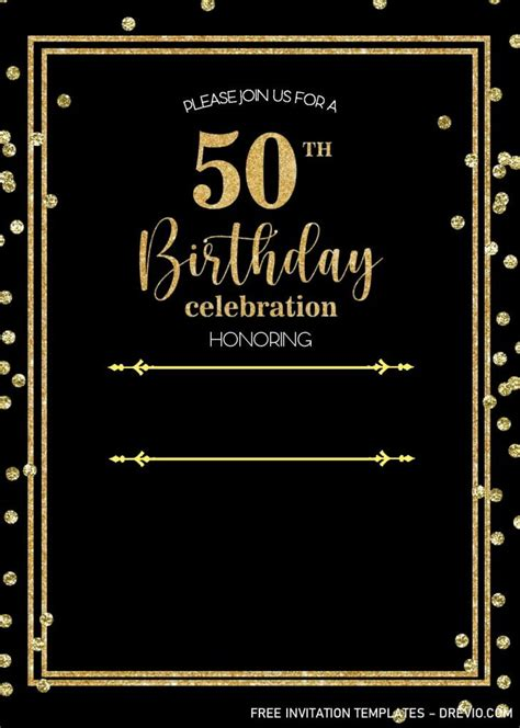 Black And Gold 50th Birthday Invitation Templates