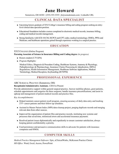 entry level clinical data specialist resume sle