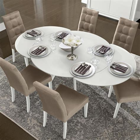 white round extending dining table bianca white high gloss glass round extending dining