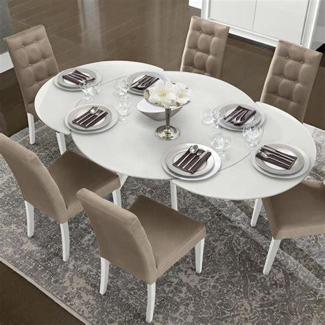 bianca white high gloss glass  extending dining