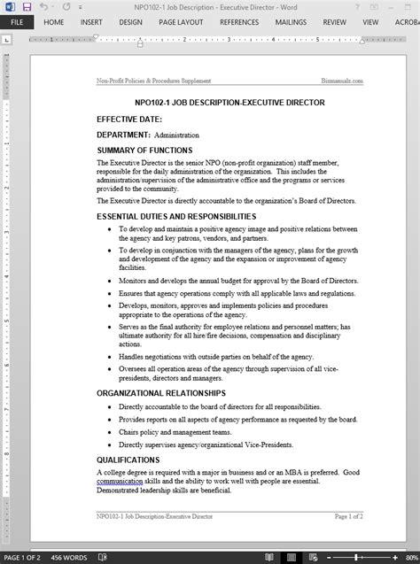 Executive Description Duties by Executive Director Description Template