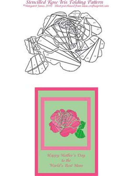 rose stencil iris folding pattern cup