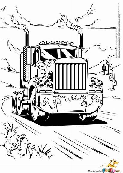 Coloring Truck Pages Colouring Prime Peterbilt Semi