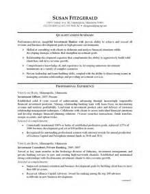 sle resume for file clerk position sle resume of investment banking sle resume of investment banking analyst banking sales