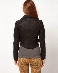 Lyst - Pepe Jeans Leather Biker Jacket in Black