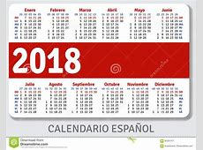 Calendario Español Del Bolsillo Para 2018 Ilustración del