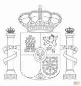 Kolorowanki Drapeau Supercoloring Hiszpanii Kolorowanka Stemma Designlooter Spagnolo sketch template