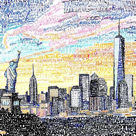 york city skyline word art print art  words