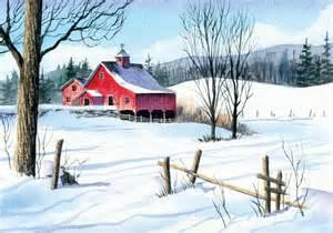 Christmas Winter Farm Scene Painting
