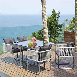 Tavolo Da Giardino   4 Sedie In Resina L 107 Cm Swann