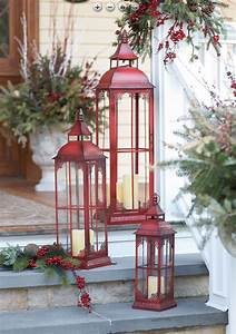 Set, Of, 3, Extra, Tall, Red, Candle, Lanterns, -, 19, 75, 28, And, 37, Inch