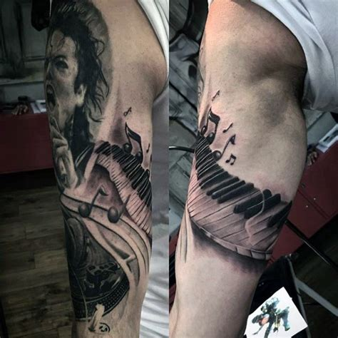 note tattoos  men auditory ink design ideas