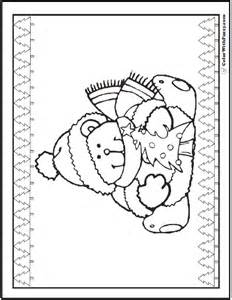 Christmas Teddy Bears Coloring Page