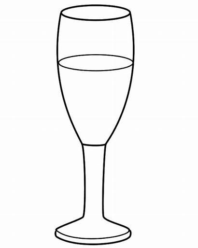 Coloring Glass Champagne Clipart Happy Cliparts Clip