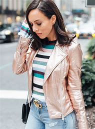 Rose Gold Leather Jacket Outfit