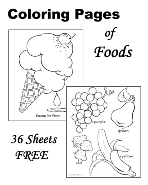 coloring sheets of food