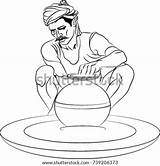 Wheel Potters Potter Template Drawing Coloring Sketch sketch template