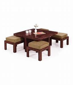 inhouz solid wood square coffee table with stools buy With square coffee table with stools