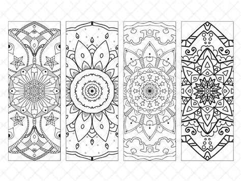 printable bookmarks with mandala adult coloring page