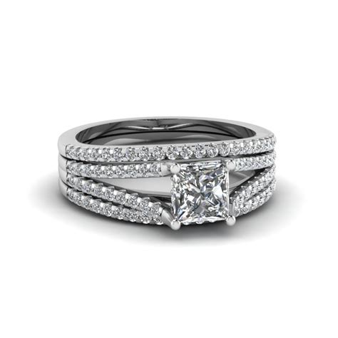 princess cut cheap trio bridal sets for with black in 950 platinum fascinating
