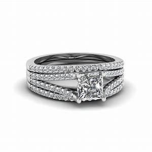 princess cut cheap trio bridal sets for women with black With trio wedding ring sets for cheap