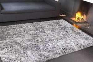 tapis gris et prune idees de decoration interieure With tapis poil long gris pas cher