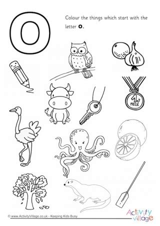 colors that start with o letter o colouring pages