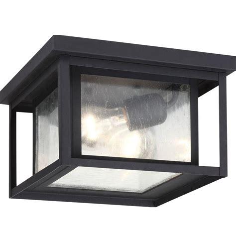 outdoor ceiling light sea gull lighting hunnington 2 light outdoor black hanging