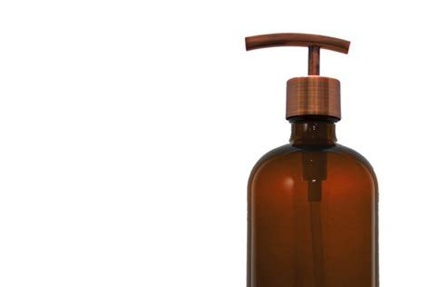 Amber Apothecary Glass Soap Dispenser with Antique Copper