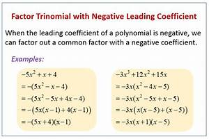 Factor Trinomial With Negative Leading Coefficient