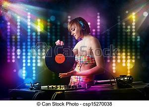 Drawings of Dj girl playing songs in a disco with light ...